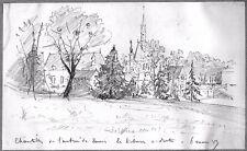 LÉON BERVILLE DESSIN ORIGINAL 1887 CHANTILLY Oise Écuries Tribunes Chapelle