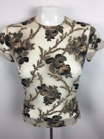 Womens Sz S Sheer Black Floral Short Sleeve Top Nylon Spandex
