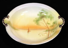 Rising Sun Nippon round bowl with handles hp sailboat tree gold trim Japan
