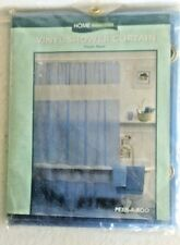 New in pack, Home Essentials Blue Vinyl Shower Curtain-Peek-A-Boo Panel
