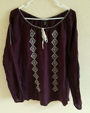 Lucky Brand Burgundy Long Sleeve Tie in Front Blouse Women's Size 2XL