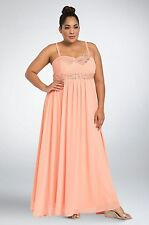 Torrid Gown Plus Size 14W Pink/Peach Special Event Bejeweled Pleated Chiffon