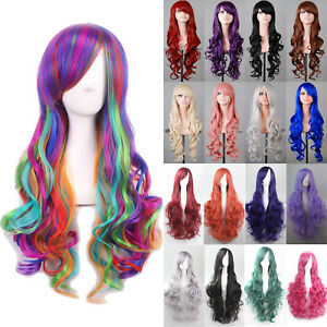 Women Heat Resistant Long Straight Wavy Cosplay Wig Costume Party Anime Full Wig