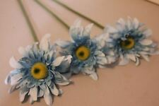 (3) Artificial Flower Blue Daisy Silk Leaves Wire Stems Spring Ind. Single