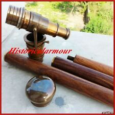 New Walking Cane Folding Walking Stick Solid Brass Wood Telescope Antique Finish