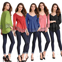 Womens Girls Lace Top Blouse Shirt Long Sleeve V Neck Clothes Ruffle Victorian