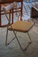 Industrial Vintage Mid Century Japanese Sankei Metal Folding Outdoor Chair Cream