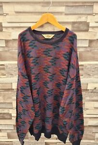 DALMINE ITALIAN 90'S ABSTRACT PURE WOOL BOLD BOHO COSBY KNIT PULLOVER JUMPER 3XL