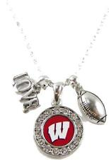 Wisconsin Badgers Multi Charm Love Football Red Silver Necklace Jewe 00006000 lry Uw