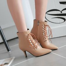 Ladies Stiletto Heels Pointy Toe Ankle Boots Lace up Side Zipper Shoes Plus Size