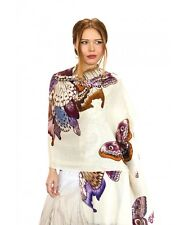 Brown Butterfly Hand-Painted Scarf, Shawl or Wrap, Silk & Cashmere Blend
