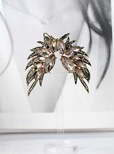 Boucles d`Oreilles Fashion Clous Clips Doré Plume Rose Particulier Retro X10