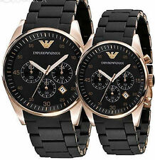EMPORIO ARMANI AR5905-AR5906 COUPLE, Black SPORTIVO CHRONOGRAPH WRIST WATCHES Ex