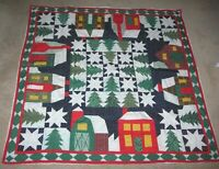 HANDMADE QUILTED STRIP Quilt LAP CHRISTMAS HOLIDAY BLANKET WALL HANGING 44X44