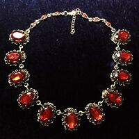 Red Ruby Vintage 38.7CT Oval Link Statement Necklace Yellow Gold Plated Jewelry