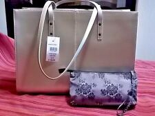 NWT WILSON'S LEATHER ICON TOTE-LAPTOP COMP-SILVER METALLIC W/SM. BAG-SEXY STYLE