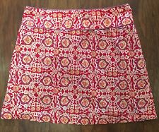 LulaKate Skirt Hot Pink Floral Print Lined Size 6 Cotton EUC