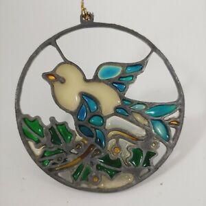"""vtg 70s KURT S ADLER 3"""" Small Dove Bird Stained Glass Style Suncatcher Ornament"""