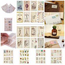 4Pcs Scrapbook Note Paper Retro Tower Flower Stamps Stickers Decor Stickers TQAU