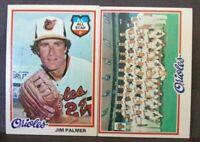 1978 topps Jim Palmer baltimore orioles #160 & orioles team checklist #96  nm-mt