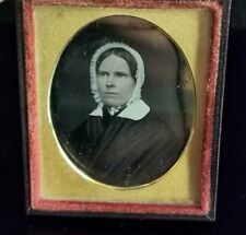More details for antique victorian daguerreotype photograph, lady in a bonnet, cased