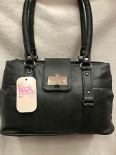Faux Leather Double Zip Top Opening Handbag Grey