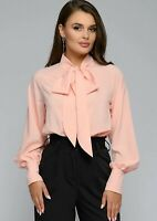 Coral Nude Peach Designer Pussy Bow Neck Tie Summer Chic Loose Blouse Top 12