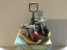 ROUTE 66  MOTORCYCLES  SALT & PEPPER SHAKERS w/ ORIG BOX~