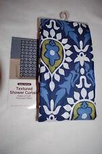 "Fabric Shower Curtain Gypsy Damask Boho Bohemian Blue Green White 72"" W x 70"" L"
