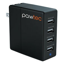 Pawtec 4-Port USB Wall SMART Charger 5V 6.2A / 31W Apple & Android Smart Circuit