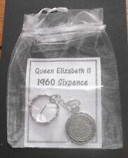 1960 60th birthday lucky Sixpence Rabbit key ring a free gift box + bag wedding