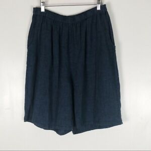 Flax Denim 100% Linen Bermuda Shorts Sz L