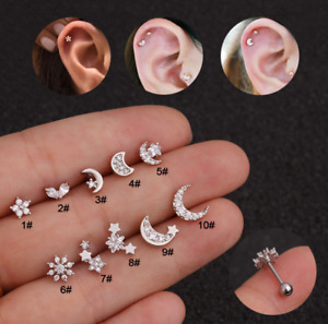 Moon-Star Shape Design Topaz Curved Bar Cartilage Earring Conch Helix Jewellery