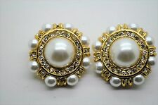 vintage gold plated party weading bridal clear/ pearl clip fashion earring #24