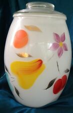 BARTLETT COLLINS GAY FAD COOKIE JAR 1950'S WHITE GLASS WITH HAND PAINTED FRUIT