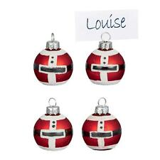Premier Christmas Set of 4 Glass Bauble Table Name Place Card Holder - Santa