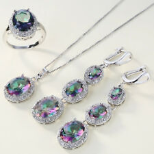 4Pcs/Set Simple Faux Topaz Inlaid Ring Earrings Pendant Necklace Jewelry Preciou