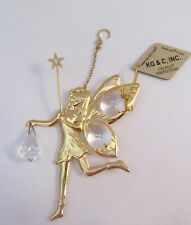 Figurine/Ornament FAIRY- 24k gold plated- Austrian crystals- wings-star-clear