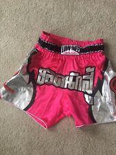 Lumpinee Muay Thai Shorts Pink & Silver 3Xl Elastic Waist & Drawstring