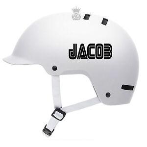 2 x Personalised Bike Helmet Name Stickers - Retro Font Vinyl Decal BMX Kids