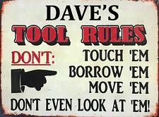 Vintage Retro Personalised Tool Rules Metal Sign Car Workshop Garage Shed