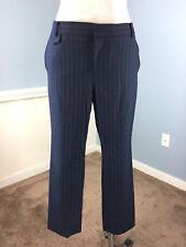 Banana Republic 10 Wool Blend Pinstripe Navy Blue Ankle Length Sloan EUC Career