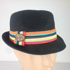 Panama Jack Unisex Fedora Woven Hat Black Colorful Stripes Band One Size
