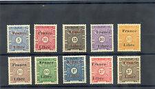 SOMALI COAST Sc J29-38(YT T29-38)**F-VF NH 1943  FRANCE LIBRE POST DUE SET $160