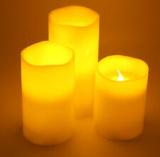 (Set of 3) Flameless LED Candle Set (Blow On / Off) Vanilla Scented