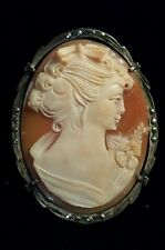 Marcasite Frame, Pin or Pendant Large, Handcarved Exquisite Cameo! 800 Silver