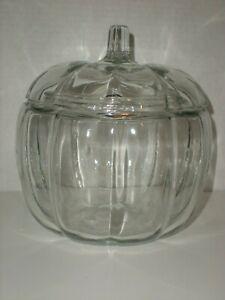 Anchor Hocking Glass Pumpkin Cookie Jar Vintage 1986