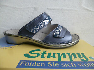 Stuppy Damen Pantolette Pantoletten Sandale Sandaletten Leder blau/silber Neu