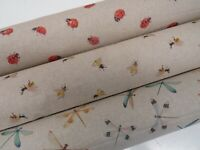 Digital Bees Ladybirds Dragonfly Linen Look Fabric Curtain Upholstery Quilting