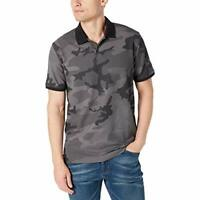 Dkny Men's Collared Stretch Performance Camo-Print Pique Polo Shirt  (Gray, S)